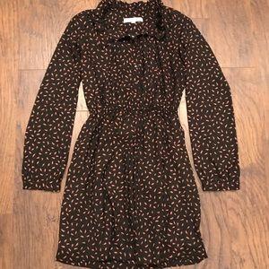 Loft Brown Pink Feather Midi Dress Size 4